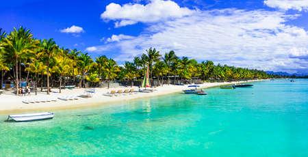 Turkooise zee en palmbomen op het eiland Mauritius Stockfoto