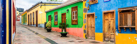 Traditional colorful houses in Los Llanos de Aridane village, La Palma, Canary island, Spain