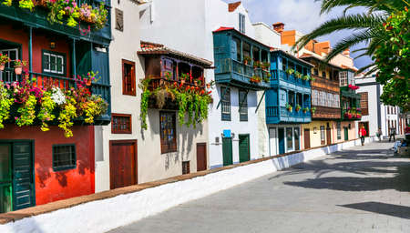 Traditional colorful balconies in Santa Cruz de La Palma, Spain