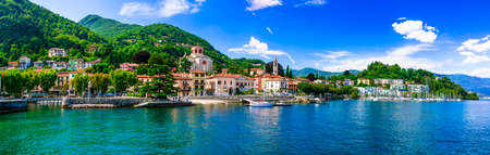 Beautiful Laveno Monbello village, Lake Maggiore, North Italy 스톡 콘텐츠
