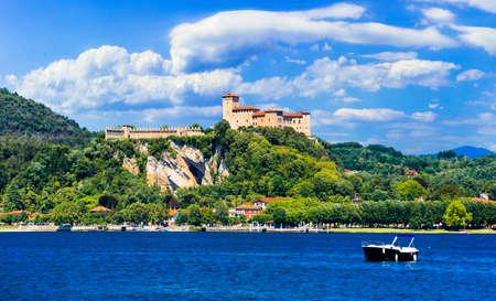 Impressive Rocca di Angera, view with old castle and lake, Lake Maggiore, Italy.