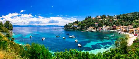 Beautiful Logos village, panoramic view, Paxos island, Greece Banco de Imagens