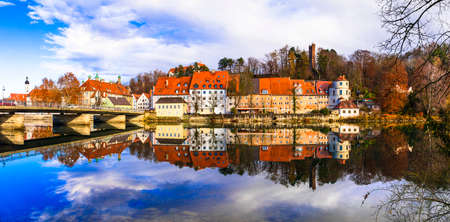 Impressive Landsberg am Lech village, view to traditional houses and river, Bavaria, Germany