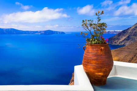 Impressive Santorini island, Cyclades, panoramic view, Greece Banco de Imagens