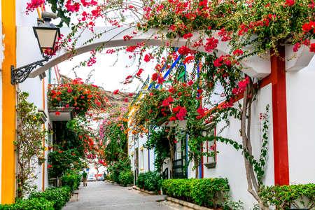 Traditional houses and flowers, Puerto de Mogan village, Gran Canaria, Spain. Banco de Imagens