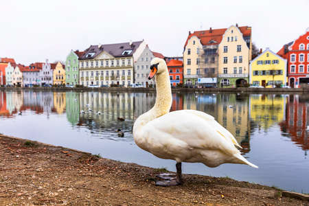 Impressive Landshut villge, view to traditional houses and river, Bavaria, Germany.