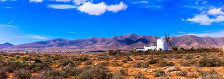 Impressive volcanic landscape in Fuerteventura island, Spain