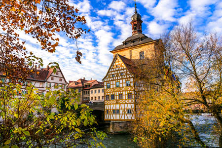 Landmarks of Germany, traditional half timbered, river and trees, Germany.