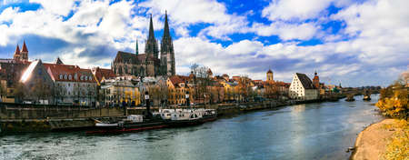 Impressive Regensburg old town, view with old cathedral and bridge, Bavaria, gERMANY.
