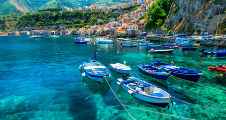 Crystal clear sea of Calabria. Scilla town. Italy