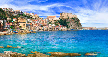 Beautiful Scilla village, view to the sea, houses and old castle, Calabria, Italy.