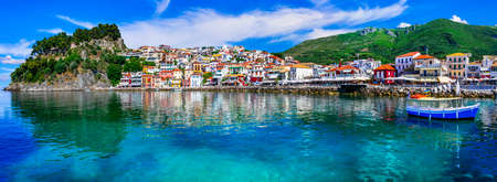 Beautiful Parga village, panoramic view, Greece. Stock Photo