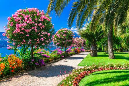 Impressive Lake Maggiore, view botanic garden, North Italy Banco de Imagens