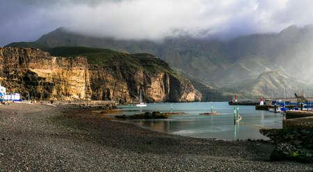 Impressive Puerto de las Nieves village, panoramic view, Gran Canaria, Spain. Banque d'images