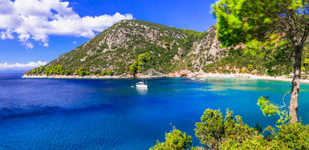 Impressive Skopelos island, view with sea and mountains, Sporades, Greece.