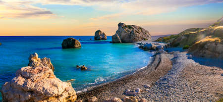 Impressive Aphrodite beach over sunset, Cyprus island.