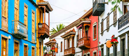 Traditional colorful houses in Teror village, Gran Canaria, Spain