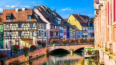 Traditionelle bunte Häuser, Stadt Colmar, Elsass, France