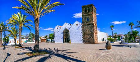 Impressive Candelaria little church in La Oliva village, Fuerteventura island, Spain