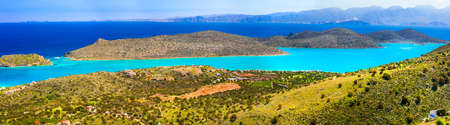 Beautiful Spinalonga island, panoramic view, Crete island, Greece