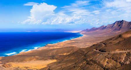 Azure sea and mountains in Cofete, Fuerteventura island, Spain.
