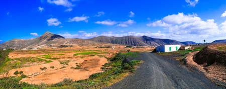 Impressive volcanic landscape in Fuerteventura island, Spain.