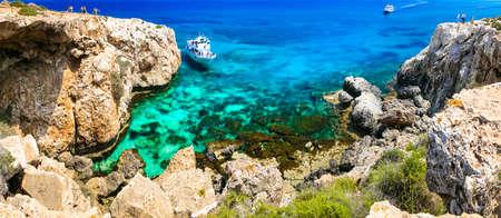 Beautiful turquoise sea and unique rocks in Agia Napa, Cyprus island. Banco de Imagens