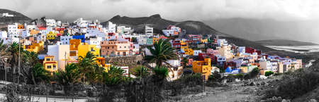 Impressive Puerto de Sardina village, panoramic view, Gran Canaria, Spain.