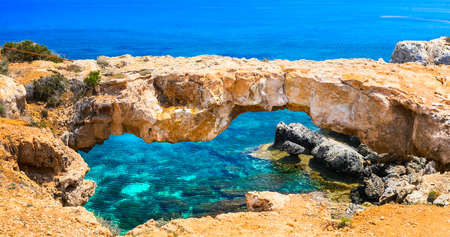 Turquoise sea and unique rocks in Agia Napa, Cyprus island.