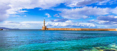 Impressive lighthouse in Chania old town, Crete island, Greece.