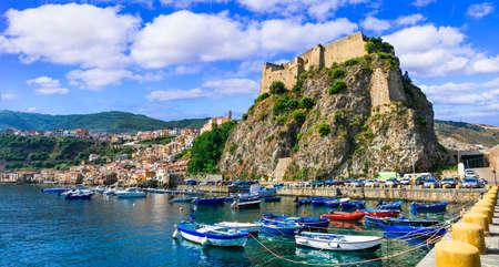 Impressive Scilla village, view to the sea, old castle, Calabria, Italy