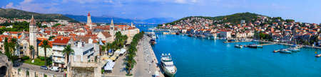 Travel and Landmarks of Croatia - hostoric town Trogir, panoramic view