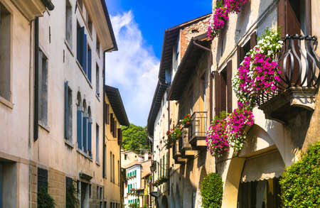 Old streets of Asolo village, Veneto, Italy.