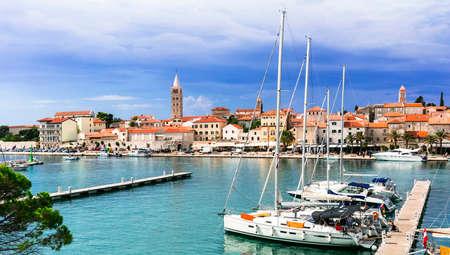 Travel in Croatia - beautiful Rab island, view of marine and old town