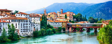 Landmarks of Italy, beautiful Bassano del Grappa town, Veneto. Banque d'images