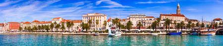 Travel and landmarks of Croatia historic Split town. panoramic view