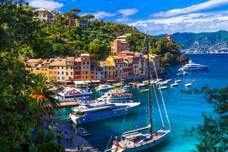 Traditional colorful houses and sea, Portofino, Liguria, Italy.