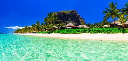 Tropical paradise in Mauritius island, view with turquoise sea, palm trees, Le Morne.