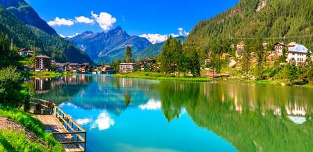Beautiful Alleghe lake and village, panoramic view, Veneto, Italy.