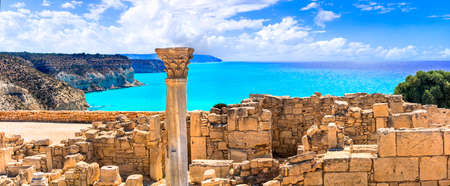 Old ruins and temple of Kourion, Cyprus island. Stock Photo
