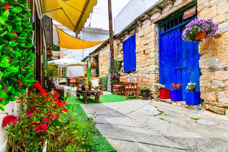 Old streets of Omodos village, Cyprus island.