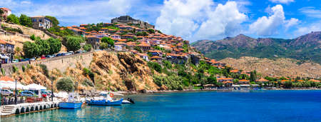 Traditional Molyvos town, panoramic view, Lesvos island, Greece.