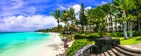 Tropical paradise in Belle Mare, Mauritius island. Stock Photo