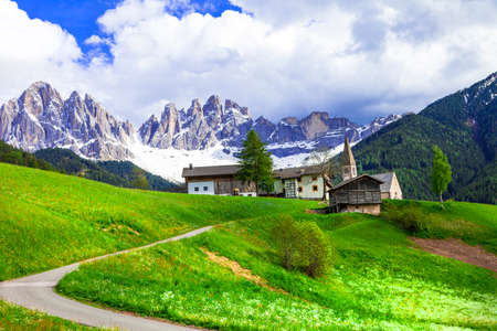 Beautiful little village and mountains, Val di Funes, Italy.