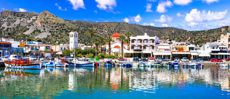 Greece travel. Beautiful places of Crete island - pictorial fishing village Elounda.