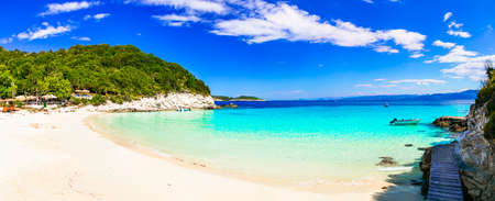 Greece holidays. One of the best beaches of Ionian islands - Vrika in Antipaxos with white sands and turquoise sea 版權商用圖片