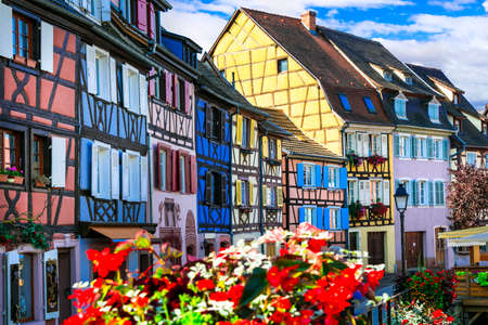 Most beautiful and colourful towns. Colmar in Alsace region of France with traditional half-timbered houses