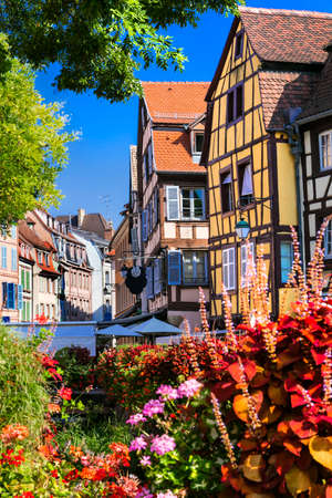 France travel. Most beautiful and colourful towns. Colmar in Alsace region with charming canals.