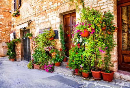 Charming old medieval villages of Italy with typical floral narrow streets. Spello , Umbria