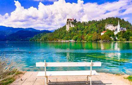 Beauty in nature. Lake scenery - wonderful Bled in Slowenia, popular tourist attraction Stock fotó